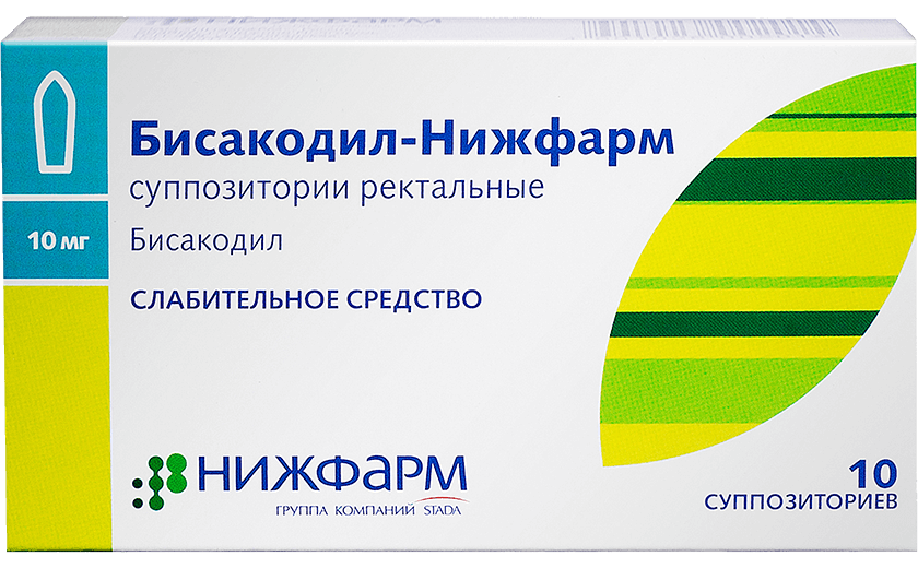 Бисакодил-Нижфарм, свечи, (Производитель: АО «НИЖФАРМ»): фото упаковки, действующее вещество, подробная инструкция по применению